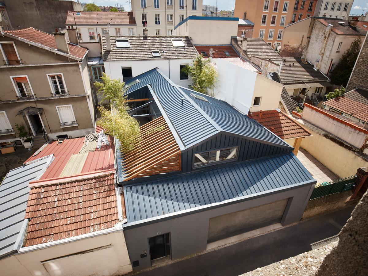 Construction maison de ville : vue de la toiture